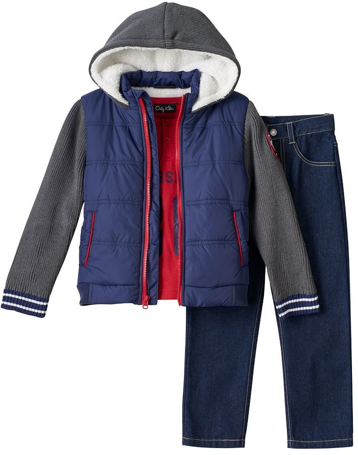 Toddler Boy Only Kids Apparel Ribbed Sleeve Sherpa-Lined Jacket, Tee & Jeans Set