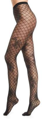 Wolford Helena Net-Pattern Tights with Floral Motif