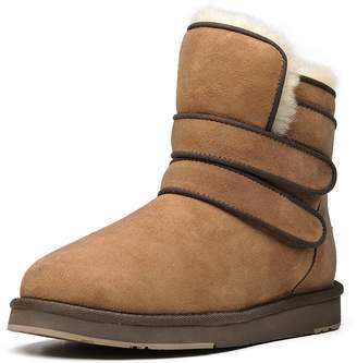 Toe Warmers AU&MU AUMU Womens Velcro Round Winter Snow Boots