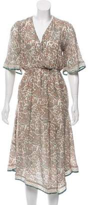 Natalie Martin Surplice Neck Printed Midi Dress