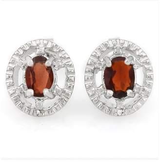 925 Sterling Silver Garnet Diamond Earrings