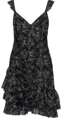 Cinq à Sept Enid Metallic Ruffled Embroidered Tulle Mini Dress