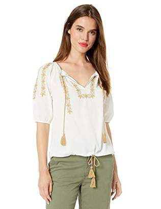 Lucky Brand Women's Embroidered Kelly Peasant TOP