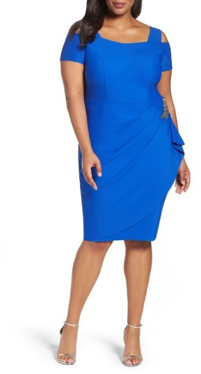 Alex EveningsPlus Size Women's Alex Evenings Embellished Cold Shoulder Sheath Dress
