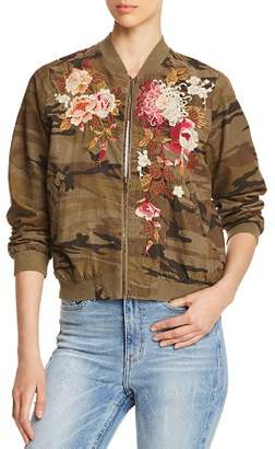 Johnny Was Chrystie Embroidered Camo Corduroy Bomber Jacket