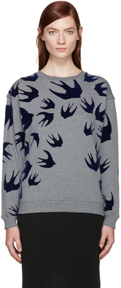 McQ Alexander Mcqueen Grey Swallows Pullover $330 thestylecure.com