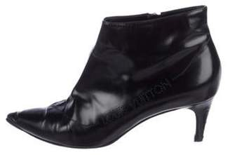 Louis Vuitton Patent Leather Pointed-Toe Booties Black Patent Leather Pointed-Toe Booties
