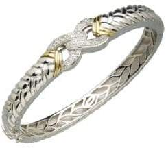 Lord & Taylor Sterling Silver and 14K Yellow Gold Diamond Bangle