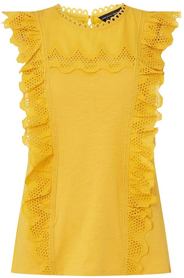 Ochre Ruffle Trim Shell Top