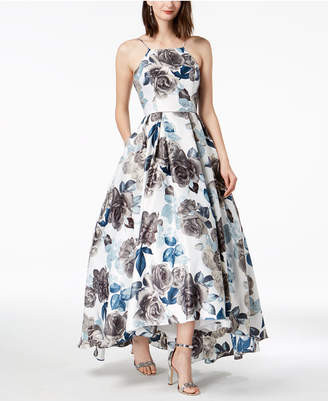 Betsy & Adam Printed Lace-Up High-Low Gown