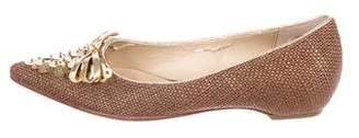 Oscar de la Renta Oscar by Embellished Pointed-Toe Flats