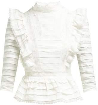 Zimmermann Allia Pintuck High Neck Linen Blouse - Womens - White