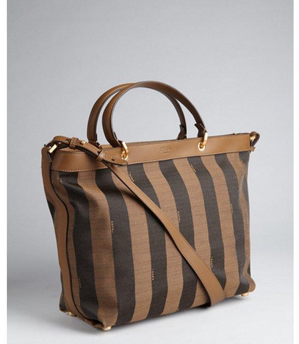 Fendi brown and black logo stripe canvas top handle bag