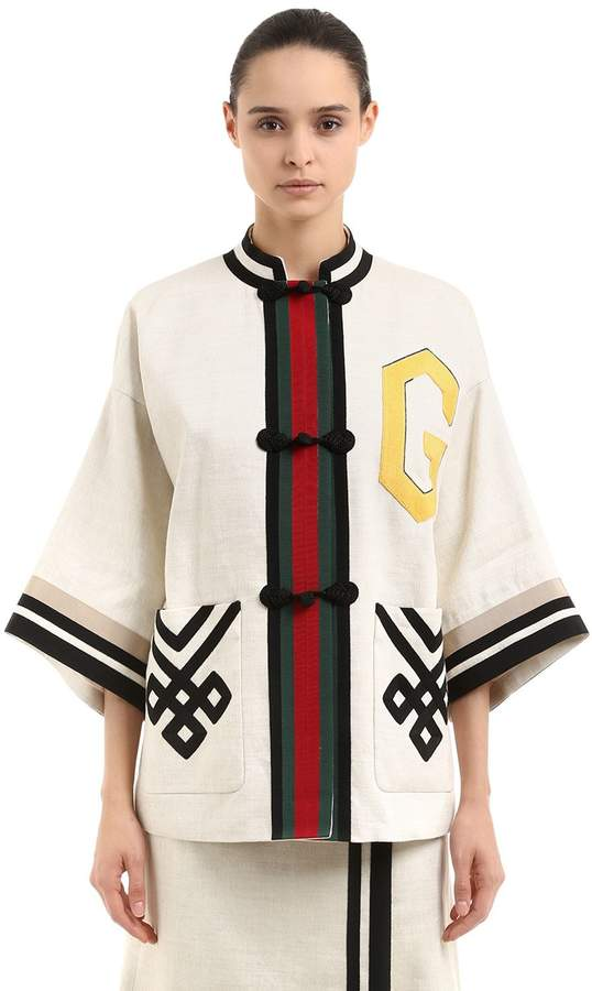 Oversized Kimonojacke Aus Leinen Und Seide