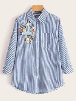 cb6bf374db Shein Floral Embroidery Curved Hem Vertical-striped Blouse