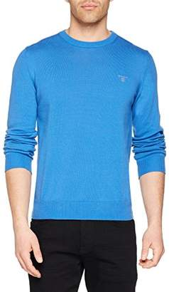 Gant Men's Summer Cotton Crew Sweater Jumper, (Palace Blue), Large (Size: L)