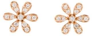14K Diamond Flower Stud Earrings rose 14K Diamond Flower Stud Earrings