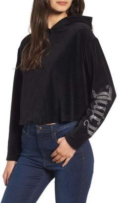 Women's Juicy Couture Gothic Logo Velour Hoodie $118 thestylecure.com