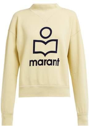 Etoile Isabel Marant Moby Flocked Logo Cotton Blend Sweatshirt - Womens - Light Yellow