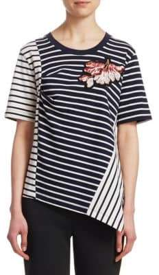 Peter Pilotto Embellished Asymmetric Stripe Jersey Tee
