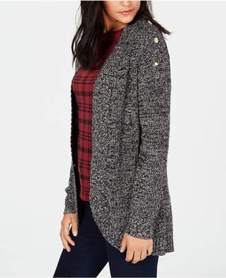 Charter Club Curved-Hem Button-Trim Cardigan Sweater