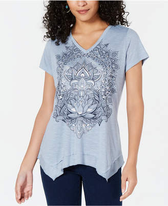 Style&Co. Style & Co Metallic-Graphic Handkerchief-Hem Top, Created for Macy's