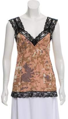 Marc Jacobs Printed Lace-Trimmed Top