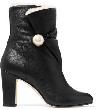 Jimmy Choo Bethanie 85 Shearling-lined Textured-leather Ankle Boots - Black