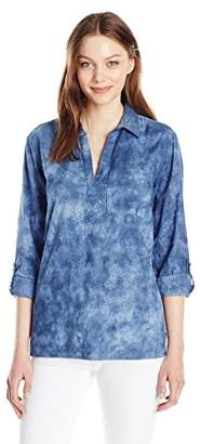 Nine West Women's Pearl Woven Popover Shirt