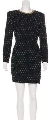 Carmen Marc Valvo Embellished Wool Dress Black Embellished Wool Dress