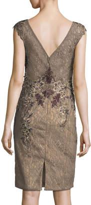 Jovani Embellished Cap-Sleeve Lace Illusion Dress
