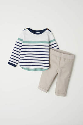 H&M Cotton Top and Pants - White/striped - Kids