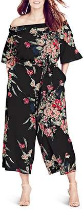 City Chic Misty Floral Print Jumpsuit