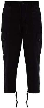 Ami Patchwork Cotton Cargo Trousers - Mens - Black