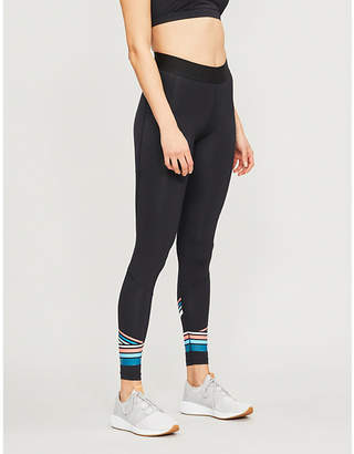 2XU Antibacterial Womens Black and Sherbet Teal Blue Stripe Accelerate Stretch-Jersey Compression Leggings