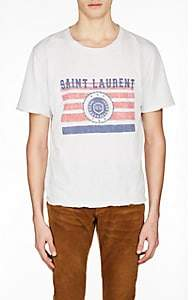 Saint Laurent Men's Logo Flag Cotton T-Shirt - White