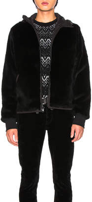 Yves Salomon Nylon Jacket with Sheared Rabbit Fur