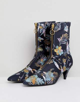 Gestuz Palm Print Fabric Sock Boots