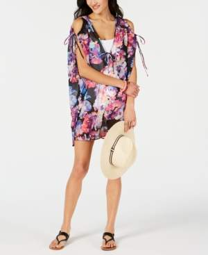 Bar III Tech Floral Printed Cold-Shoulder Tunic Cover-Up, Created for Macy's Women's Swimsuit
