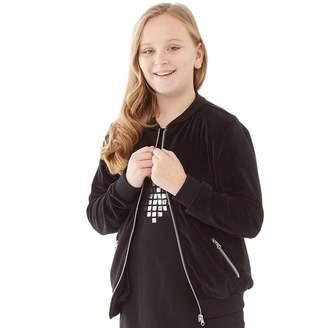 Fluid Girls Velour Bomber Jacket Black