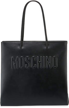 Moschino Smooth Leather Quilted Logo Tote Bag