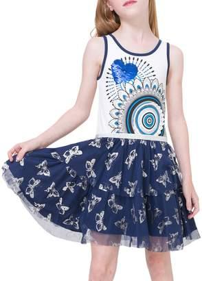 Desigual Sequined Heart Cotton Dress