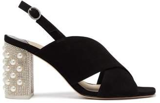 Sophia Webster Nina Crystal Embellished Suede Slingback Sandals - Womens - Black