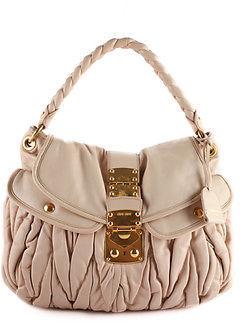 Miu MiuMiu Miu Beige Gaufre Ruched Leather Gold Tone Shoulder Handbag BP4467 MHL
