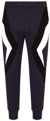 Neil Barrett Chevron Panelled Jersey Track Pants - Mens - Navy Multi