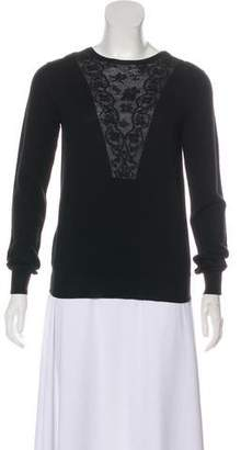Lanvin Lace-Trimmed Lightweight Sweater