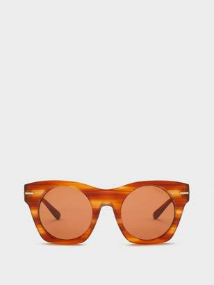 DKNY Square Matte Sunglasses With Dash Detail