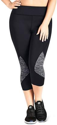City Chic Plus Cropped Mélange Panel Leggings