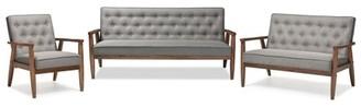 Baxton Studio Sorrento Mid-century Retro Modern Grey Fabric Upholstered Wooden 3 Piece Living room Set