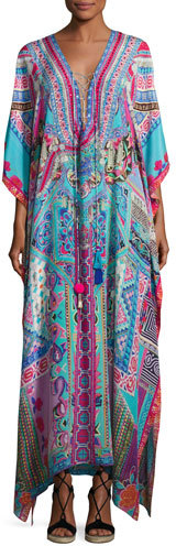 CamillaCamilla Embellished Long Lace-Up Silk Caftan Coverup, Festival Friends